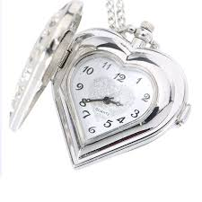 ladies necklace watch images Hot sell ladies digital hollow quartz heart shaped pocket watch jpg
