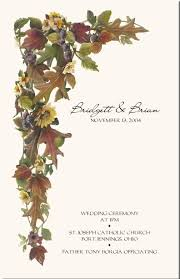 Sunflower Wedding Programs Fall Wedding Sunflower Anemone Poppy Autumn Wedding Theme Fall