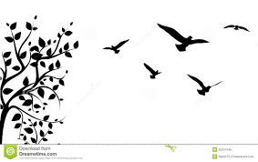 tree and bird stock vector illustration of popular painting 25347545