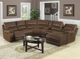 brown faux leather sectional sofa with recliner and black iron