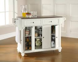 kitchen portable island kitchen small kitchen cart in white finish with large storage