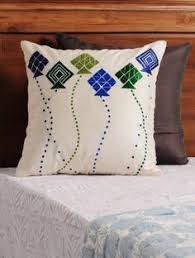 buy vy silver fuschia navy phulkari embroidered cotton cushion