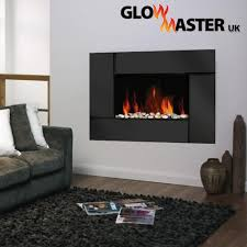 Fireplace Fixings Black Glass Panel Wall Mounted Electric Fireplace By Glowmaster