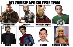 Zombie Team Meme - image 630845 my zombie apocalypse team know your meme