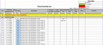 Project Tracking Template by How To Create A Shop Drawings Submittas Log With Sample U2013 Planning