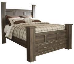 Storage Bed Contemporary Queen Poster Storage Bed In Dark Brown