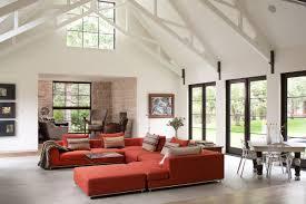 modern and rustic home in boulder colorado burnt orange sofa high ceilings living space modern and rustic home in boulder