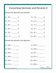 Worksheet On Converting Decimals To Fractions Converting Percents To Decimals Worksheet Education Com