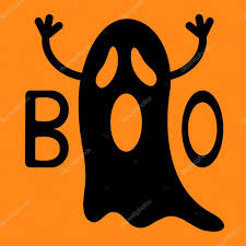 happy halloween funny black flying ghost with hands u2014 stock
