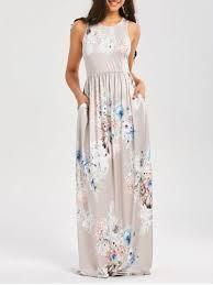 light gray long dress light gray l maxi floral racerback semi formal prom dress rosegal com