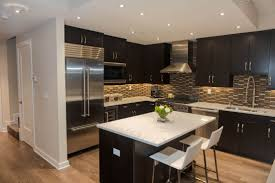 kitchen style espresso kitchen cabinets with white granite island