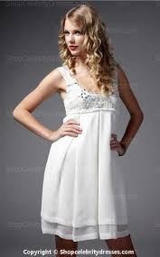 taylor swift short white chiffon beaded cocktail party homecoming