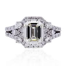 emerald cut engagement rings 18k white gold 3ct emerald cut engagement ring