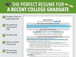 best resume for recent college graduate excellent resume for recent grad business insider recent college