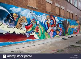 chicago illinois a mural on a building in the largely stock chicago illinois a mural on a building in the largely mexican american little village neighborhood