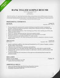 Sample Resume Objectives by Skill Resume Bank Teller Resume Samples Bank Teller Job