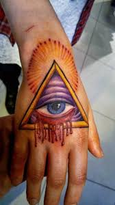 attractive 3d triangle eye tattoo on hand