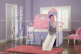 Bunk Beds Pink Princess Castle Tent Bunk Bed With Slide White Purple