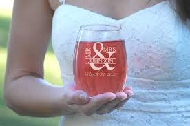 Wine Glass Gifts 2 Etched Wedding Glasses Mr And Mrs Stemless Wine Glasses His