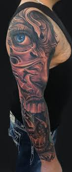 biomechanical tattoo face mike devries tattoos bio organic face sleeve