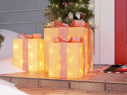 three posts sparkling sisal gift boxes lighted