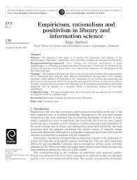 empiricism rationalism and positivism in library and information