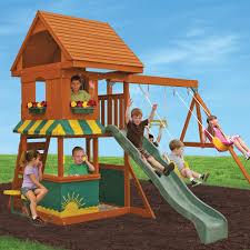 wooden swing set kids outdoor activity center fun playhouse