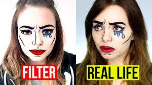 real life snapchat filter comic makeup tutorial youtube