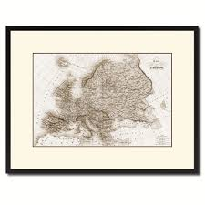 europe vintage sepia map canvas print picture frame gifts home