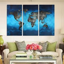 Livingroom Art 2017 Blue Map No Frame Wall Art Oil Painting On Canvas Simple And