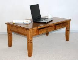Wohnzimmertisch Holz Quadratisch Couchtisch 110x46x65cm 2 Schubladen Tischplatte Abgerundet