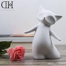 cute fox ceramic figurine gift for home ornament art craft for