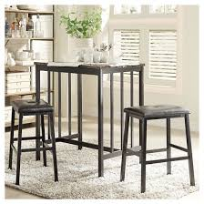 Pub Height Dining Room Sets 3 Piece Presidio Faux Marble Counter Height Dining Set Metal Black