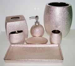 6 pc set caro shiny metallic rose gold pink soap dispenser