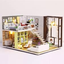 chambre jouet nouvelle maison de poupée jouet miniature en bois maison de poupée
