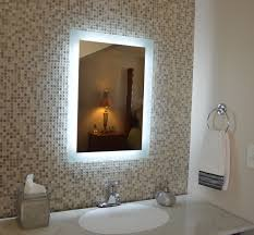 interior bathroom mirror with led lights outside fireplace
