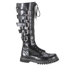 mens black leather combat boots goth punk 20 eyelet 5 straps steel