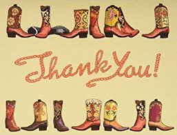 18 boxed cowboy boots western thank you card folded