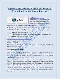 bid bond aaug insurance company ltd bid bonds surety and the american assu