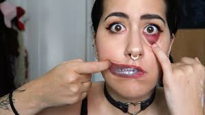 torn eye and mouth easy halloween makeup holly dolly youtube