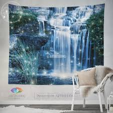 waterfall wall tapestry nature wall decor night waterfall wall