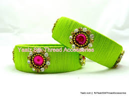 yaalz office wear silk thread bangle collection in green color s