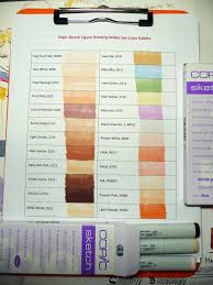 copic sketch figure drawing wallet set color chart flickr