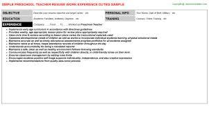 preschool teacher resume objective examples resume sample for