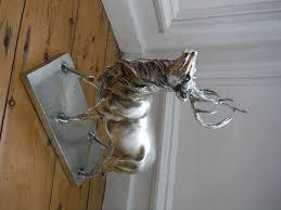 stunning large silver stag deer reindeer antlers ornament on base