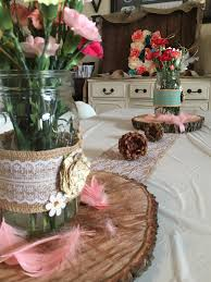 woodsy chic rustic themed baby shower brunch details include