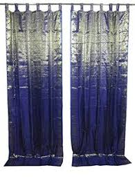 Navy Tab Top Curtains Indian Curtain Window Panel Brown Tab Top Living Room Home Decor