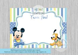 mickey mouse thank you cards baby mickey mouse thank you cards mickey mouse printable thank you