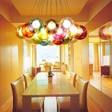 Glass Chandeliers For Dining Room Creative Design Modern Led Colorful Glass Pendant Lights