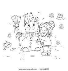 coloring outline cartoon boy snowman stock vector 541149637